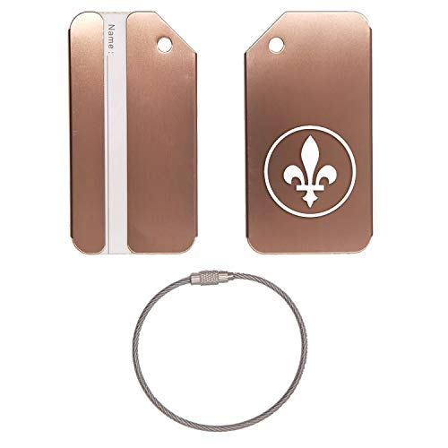 - QUEBEC SIGN FLEUR DE LIS STAINLESS STEEL - ENGRAVED LUGGAGE TAG - SET OF 2 (COFFEE) - FOR ANY TYPE OF LUGGAGE, SUITCASES, GYM BAGS, BRIEFCASES, GOLF BAGS