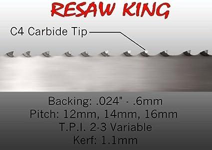 "1//2/"" X 12-14-16mm Vari Tooth Pitch X 105/"" Resaw King Carbide Tip Bandsaw Blade"
