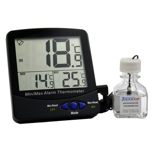 Thermco Triple Display Large Environmental Chamber Thermometer Current , Min & Max Displayed, Certified, W/Alarm. For Freezers, -50 to 70C, Certified at -20C