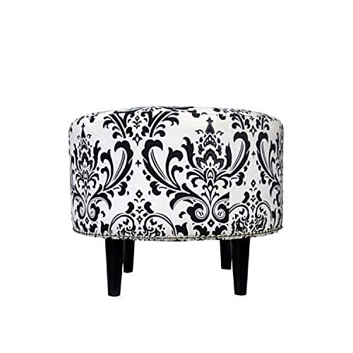 (Sole Designs Sophia Collection Round Upholstered Ottoman with Espresso Leg Finish and Silver Nail Head Trip, Black/White Finish)