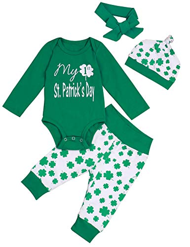 Newborn Infant Baby Boy Girl My 1st St Patrick's Day Outfit Cute Onesie Clover Pants Long Sleeve Bodysuit 4 Pcs Outfit Set