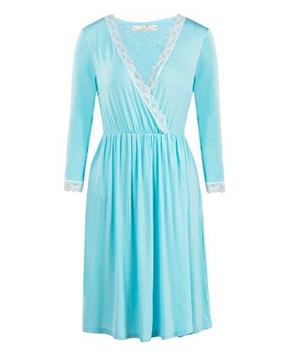 Stretch Cotton Sleepshirt (XINGONGCHENG Womens Sexy V-Neck Nightgown Cotton Pajamas 3/4 Sleeve Sleepwear Sleep Dress Light Blue XXL)