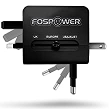 FosPower All-In-One International Power Adapter, High Speed [3.1A] Dual USB Ports Travel Plug Charger (US UK EU AU) for iPhone, iPad, Smartphones, Tablets, Laptop - Black
