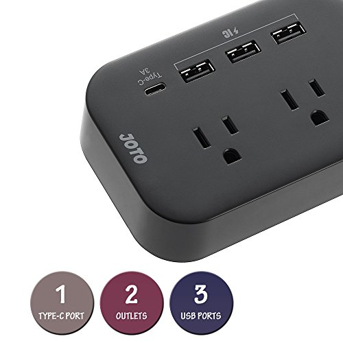 JOTO 2 Outlet Surge Protector Power Strip with USB Smart Charger (4 Port,5V 7.4A),with Type C Charging Port, 6.6ft Long Cord Extension, Home Office Desk Nightstand Travel Charger Station -Black by JOTO (Image #2)