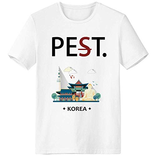 - Tourist Attractions in Seoul Korea Pet But Not Pest White T-Shirt Short Sleeve Crew Neck Sport