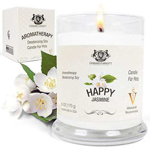 Jasmine Aromatherapy Deodorizing Soy Candle for Pets, Candles Scented, Pet Odor Eliminator & Animal Lover Gift - 6 OZ (170 g)