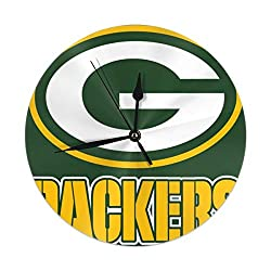 Gdcover Green Bay Packers (3) Vintage Clock, Silent Non Ticking Round Wall Decor Clocks for  Living Room Decor