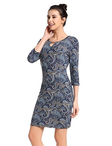 O Work Blue Casual Sleeve Neck Size bulges 4 for Sleeve Dresses Dress Dresses Dress Women Women Plus 3 3 4 aTww5q