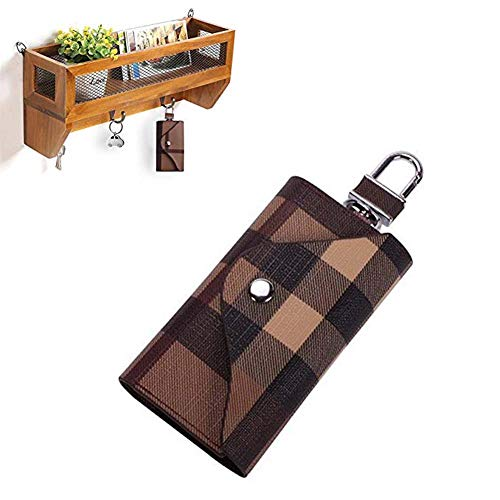 Case Keychain Bag (Linsam PU Leather Plaid Key Car Wallets Car Keychain Key Holder Bag Key Purse Pouch (Coffee))