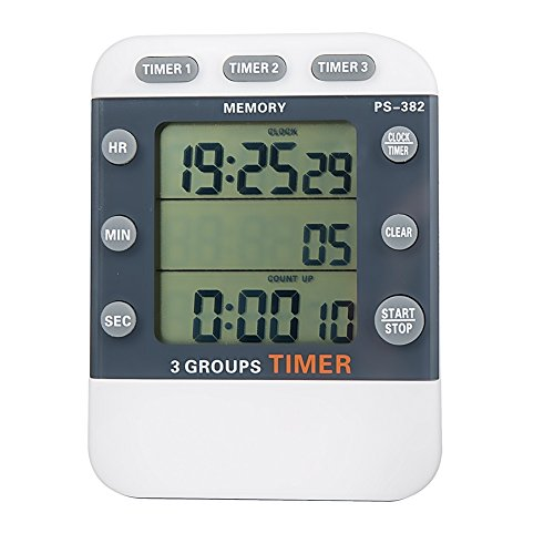Digital 3 Channel Count Down UP Timer with Triple Display Simultaneously for Cooking School Meeting Laboratory Parking Noon Break Beauty Salon - Cooks Club Digital Timer