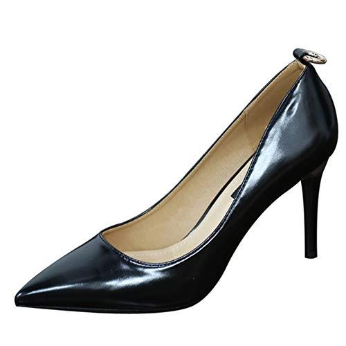 YMFIE La Primavera y el otoño del Temperamento de la Moda Europea Solo Zapatos Stiletto señaló la Boca Baja Negro Zapatos de tacón Alto, 37 UE 34 EU