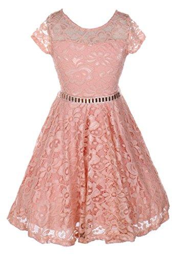 IGirlDress Big Girls Floral Lace Flower Girls Dresses Blush Size 12