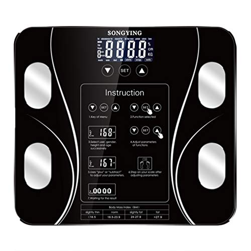 Scales Bathroom Body Fat, Tempered Glass Smart