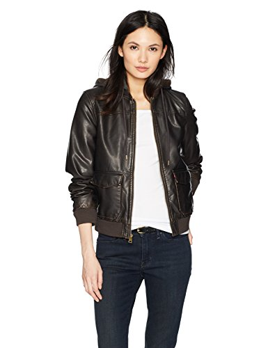 Levi's Women's Two-Pocket Faux Leather Hooded Bomber Jacket with Sherpa, Dark Brown, Small (Womens Brown Leather Bomber Jacket With Hood)