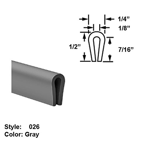 Slippery MDS-Filled Nylon Plastic U-Channel Push-On Trim, Style 026 - Ht. 1/2'' x Wd. 1/4'' - Gray - 25 ft long by Gordon Glass Co.