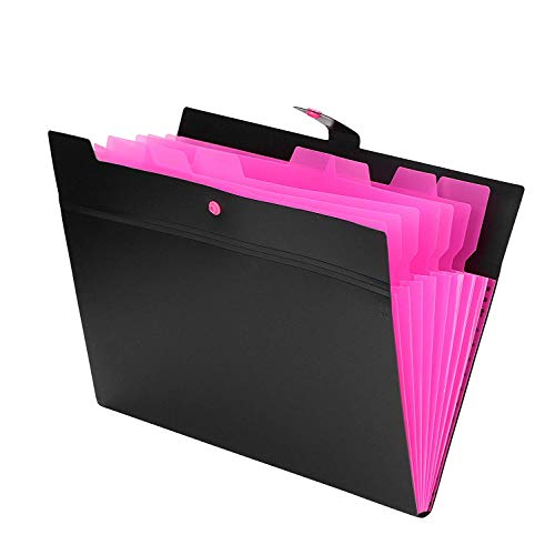 Expanding Accordion File Folder Travel Portable 8 Pockets A4 Letter Business File Organizer Holder Wallets Messenger Document Bag with Tabs for Unisex