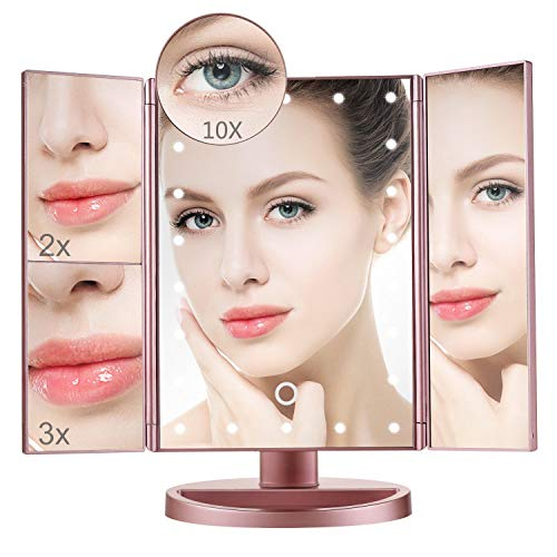 Makeup Mirror,Aiskki 10X/3X/2X/1X Magnification Mirror,180° Adjustable Rotation Vanity Mirror,Trifold Vanity Mirror,22 LED Lights,Touch screen adjustment brightness,Dual Power Supply Cosmetic Mirror by Aiskki