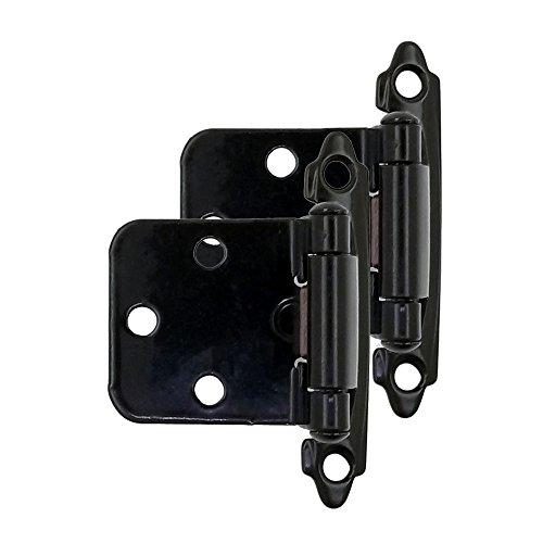 Modket M4310-BK-50 Decorative Black Self Closing Face Mount Flush Hinge - 50 Pack (25 Pairs) ()