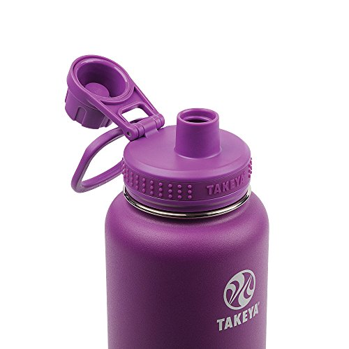 Takeya Actives Insulated Stainless Water Bottle with Insulated Spout Lid, 32oz, Violet