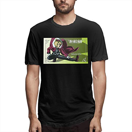 Fnh Fullmetal Alchemist Anime Elric Edward Poster Men's Tees 5XL Black -