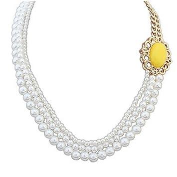 580db9ab1639 menry 2pcs de la mujer colgante collares Collar de perlas perlas de  imitación perla aleación de