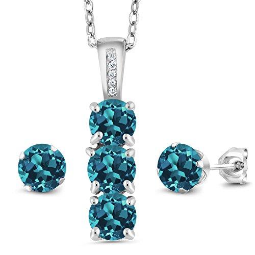 (Gem Stone King 2.54 Ct London Blue Topaz White Diamond 925 Sterling Silver Pendant Earrings Set)