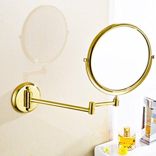AGAOLIGUO European Hotel bathroom luxury Vanity Mirror Double Sided Swivel Beauty Mirror Bathroom 3x magnification Folding Makeup Mirror,gold_8inch by AGAOLIGUO