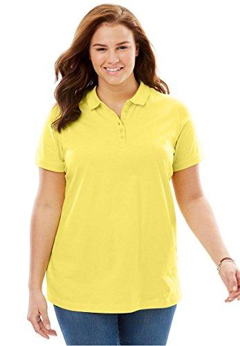 Women's Plus Size Perfect Short Sleeve Polo Tee Lemon Cream,2X -