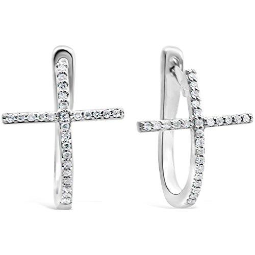 Diamond Cross Earrings in Sterling Silver (1/8 cttw)