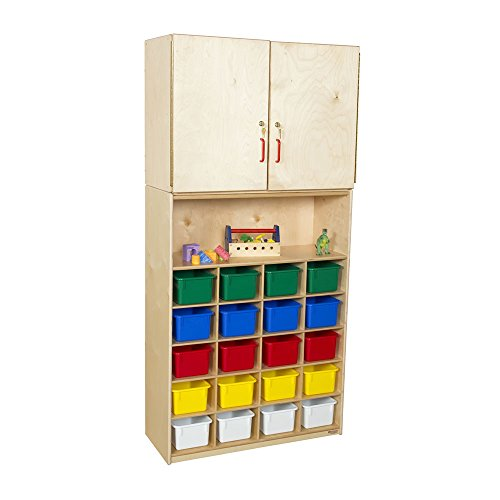 """Wood Designs WD56203(20) Baltic Birch Plywood Tray Vertical Storage Cabinet with Assorted Trays 15x36x75"""" (H x W x D)"""