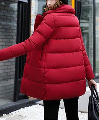 Autunno Mode Di Puro Trapuntato Colore Moda Vintage Giacche Outerwear Marca Rot Piumino Trapuntata Giacca Tasche Bottoni Con Invernali Lunga Elegante Cappotto Chiusura Manica Donna Festivo Ewzfq4x