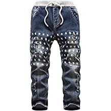 HOLLAGLEE Star Ripped Skinny Boys' Jeans Slim Fit Pants Kids Big Boys