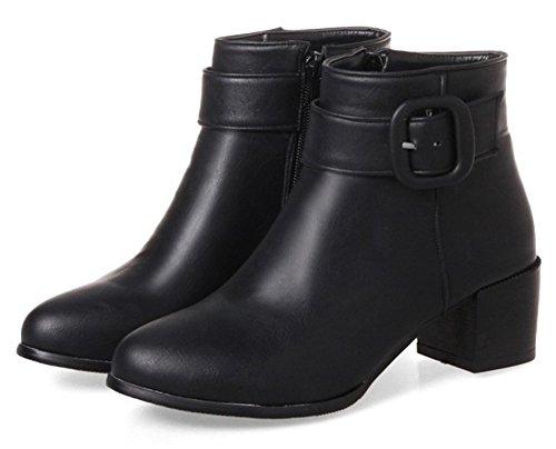 Stylish Ankle Zipper Round Booties Belt Heel Toe Block Side Black Women's Aisun Medium Buckled 05wPx5qT