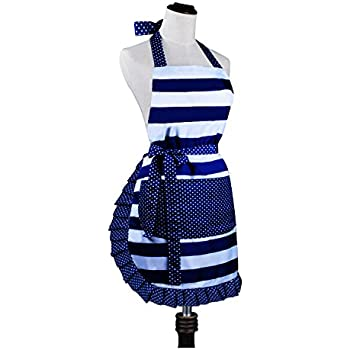 Cute Lovely Lady's Kitchen Fashion Cooking Baking Kitchen Aprons with Pockets for Mother's Day Gift, Blue