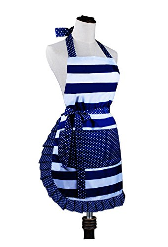 Cute Lovely Lady's Kitchen Fashion Cooking Baking Kitchen Aprons with Pockets for Mother's Day Gift, Blue by Love Potato