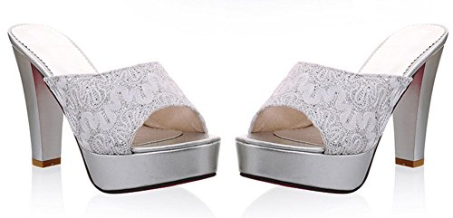 Aisun Womens Dressy Platform Peep Toe Slide Sandals Mules High Heels Shoes Silver EiWPv
