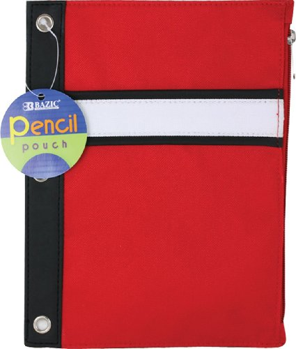 Bazic 3-Ring Pencil Pouch, Assorted Colors (Case of 144) by Bazic
