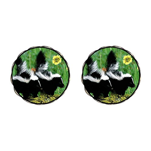 GiftJewelryShop Bronze Retro Style Wildlife Skunk Photo Clip On Earrings Flower Earrings 12mm Diameter ()