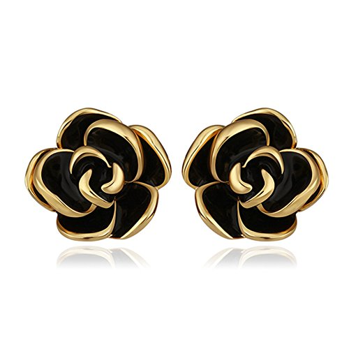 18K White Gold Yelow Gold Plated Stud Earrings,Hollowed Black Rose Flower/Butterfly CZ Cubic Zircon Hypoallergenic Studs For Women Teen Girls Sensitive Ears (A Gold) - Flower 18k White Gold Earrings