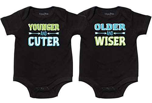 Nursery Decals and More Matching Twin Outfits for Baby, Includes 2 Bodysuits, 0-3 Month Young Old