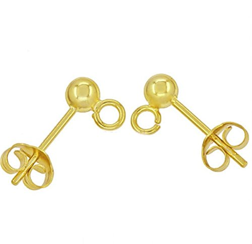 - 100pcs Hypoallergenic Earring Posts Stud Earrings 3.5mm Ball Post with Loops Earnut Backs Gold Plated Brass for Jewelry Making CF218-2