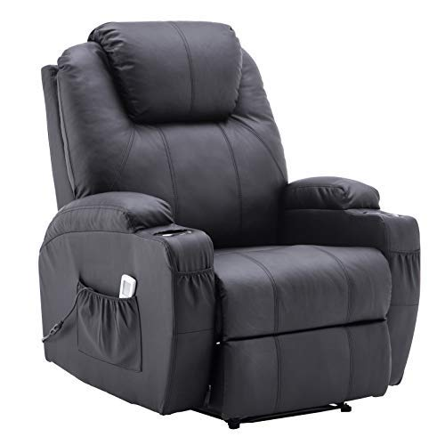 Electric Power Recliner Massage Ergonomic Chair Vibrating Heated Lounge Remote PU Leather 7050 (Black)