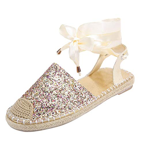 Realdo Women's Bandage Sandals Straw Round Toe Flat Casual Sequin Shoes Cross Strap Rome Style Sandals -