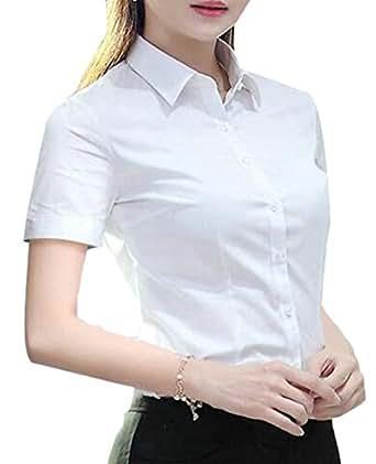 MK988 Women's OL Button Down Long/Short Sleeve Slim Solid Formal Shirt Blouse Top 1 L