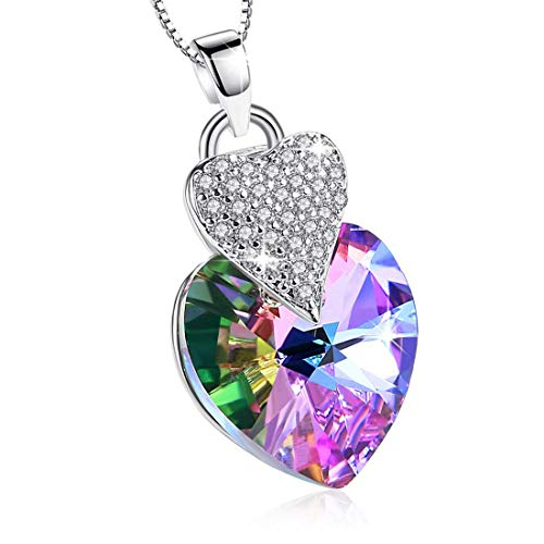Heart Necklace Swarovski Crystals Pendant 925 Sterling Silver Y-Necklace for Women Girl Mother Festive Present 18