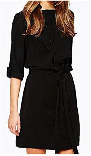 SHUNLIU Damen Blusenkleider Kleid Erhöhen Ärmel Manschettenknöpfe Uni-Farben  Irregular Bandage Waist Absicherung Einteiler Kleider ...