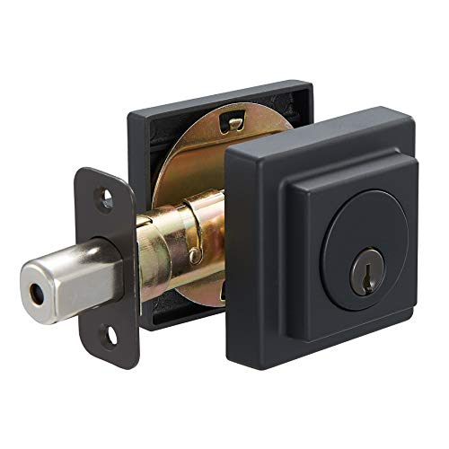 - AmazonBasics Contemporary Square Deadbolt - Single Cylinder - Matte Black