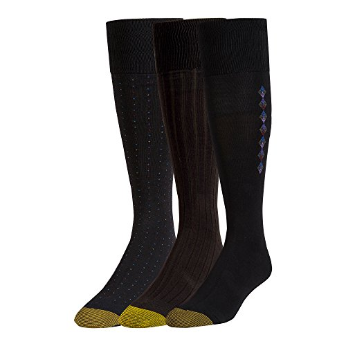 - Gold Toe Men's Over The Calf Dress Socks, 3 Pairs, Black, Shoe Size: 6-12.5