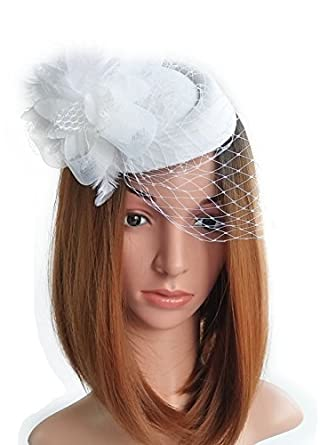 04fad02b906 Fascinator Hats Pillbox Hat British Bowler Hat Flower Veil Wedding Hat Tea  Party Hat (White)  Amazon.in  Clothing   Accessories