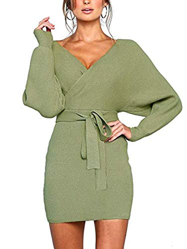 JOYCHEER Womens Sweater Dresses Sexy V Neck Backless Long Batwing Sleeves Mini Bodycon Dress Army Green (Boots Sweater Dresses)